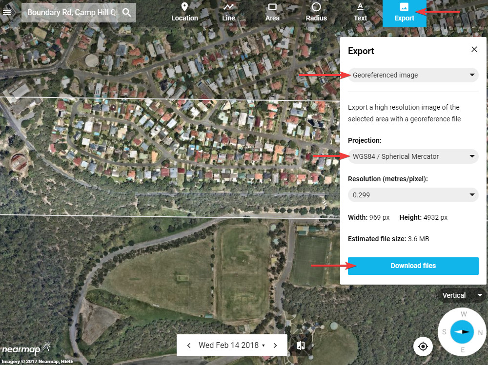 Exporting a georeferenced image from Nearmap