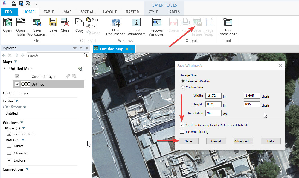 Exporting a georeferenced image from Mapinfo